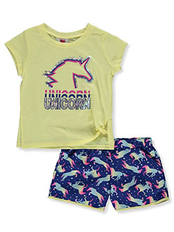 Girls' Unicorn 2-Piece Shorts Set Outfit by RMLA in Yellow