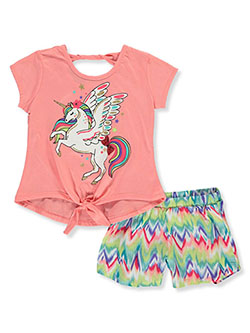 Girls' Unicorn 2-Piece Shorts Set Outfit by RMLA in Coral