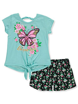 Best Butterfly 2-Piece Shorts Set Outfit by RMLA in Seafoam/black, Girls Fashion