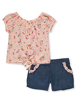 Girls' 2-Piece Chambray Shorts Set Outfit by RMLA in blush, pink and yellow, Girls Fashion