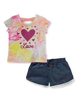 Girls' Love Hearts 2-Piece Shorts Set Outfit by RMLA in Fuchsia