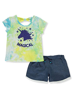 Magical Unicorn 2-Piece Shorts Set Outfit by RMLA in Aqua, Girls Fashion