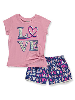 Girls' Love 2-Piece Shorts Set Outfit by RMLA in Mauve