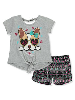 Girls' Puppy Love 2-Piece Shorts Set Outfit by RMLA in Heather gray, Girls Fashion