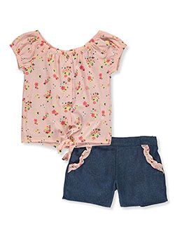 Girls' 2-Piece Chambray Shorts Set Outfit by RMLA in Blush