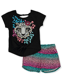 Girls' Tiger 2-Piece Shorts Set Outfit by RMLA in Black