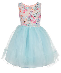 "Pretty as a Picture Little Girls' ""Embroidered Petals"" Dress (Sizes 4 – 6X) - CookiesKids.com"