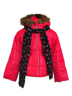 Insulated Parka with Scarf by Le Petit Rothschild in Berry, Girls Fashion