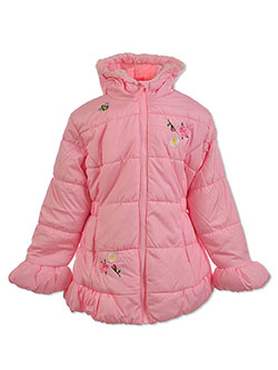Floral Embroidered Insulated Parka by Le Petit Rothschild in Pink