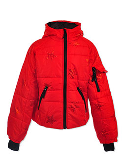 Star Print Insulated Jacket by Le Petit Rothschild in Red