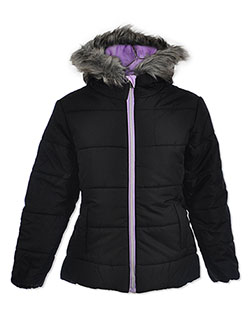 Girls' Insulated Parka by Le Petit Rothschild in black, charcoal and purple