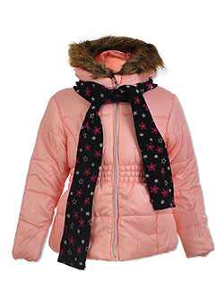Insulated Parka with Scarf by Le Petit Rothschild in Blush, Girls Fashion