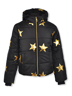 Star Print Insulated Hooded Jacket by Rothschild in black and white