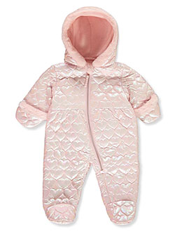 Heart Embossed Insulated Pram Suit by La Petite Rothschild in blush and navy