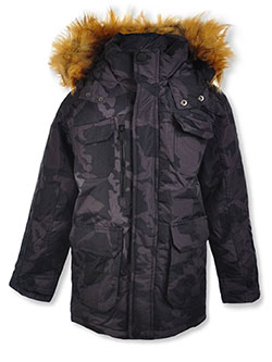 Boys' Logo Tape Insulated Parka by Rocawear in Black/camo
