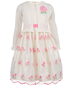"American Princess Big Girls' ""Flowery Bunches"" Dress with Cardigan (Sizes 7 – 16) - CookiesKids.com"