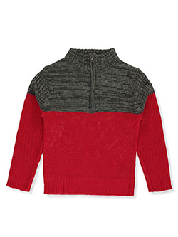 Boys' Zip Mock Neck Sweater by Sezzit in red and white