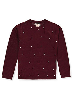 Girls' Pearl Drop Sweater by Pink Angel in burgundy and off white