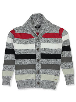 Boys' Striped Shawl Knit Cardigan by Jones New York in black/multi and navy/multi