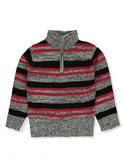 Boys' Zip Neck Sweater by Sezzit in heather gray/red and heather gray/yellow