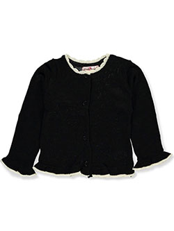 Girls' Ruffle Trim Cardigan by Pink Angel in black multi and pink/multi