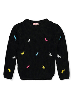 Girls' Unicorn Embroidered Sweater by Pink Angel in black multi and ivory/multi