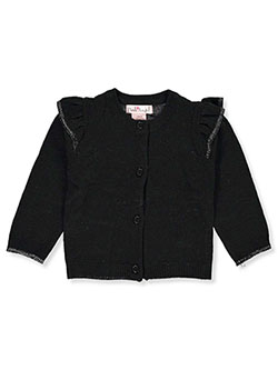 Baby Girls' Ruffle Shoulder Cardigan by Pink Angel in black, fuchsia and ivory, Infants