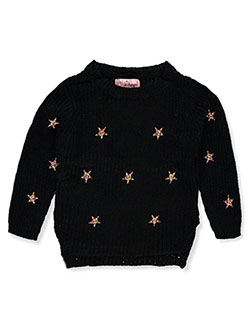 Baby Girls' Star Embroidered Sweater by Pink Angel in black, gray, ivory and pink, Infants