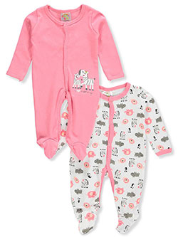 Baby Girls' 2-Pack Footed Coveralls by Sweet & Soft in coral/multi and purple/multi - $13.00
