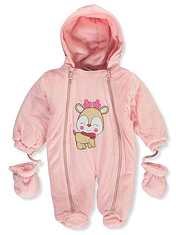 Reindeer Smile Microfleece Hooded Pram Suit with Mittens by Sweet & Soft in Pink/multi, Infants