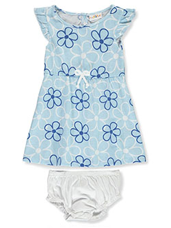 Baby Girls' Daisy 2-Piece Dress Set by Sweet & Soft in blue and pink