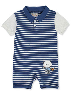 Sweet & Soft Baby Boys' Striped Romper by Bon Bebe in Navy/white