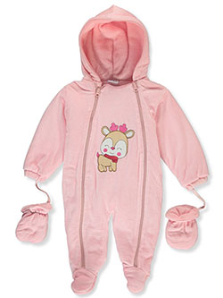 Baby Girls' Reindeer Plush Pram Suit by Sweet & Soft - Snowsuits