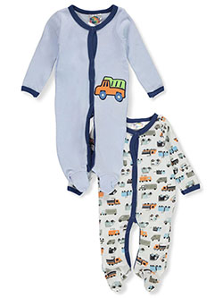 Sweet & Soft Truck 2-Pack Footed Coveralls by Sweet and Soft in blue/multi and green/multi
