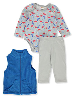 Baby Boys' Dino 3-Piece Layette Set by Sweet & Soft in Multi