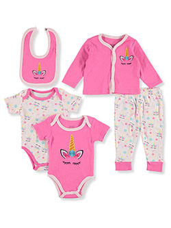 Unicorn 5-Piece Layette Gift Set by Sweet & Soft in pink/multi and purple/multi