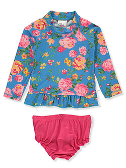 2-Piece Floral Rash Guard Swim Set by Sweet & Soft in blue/multi and white/multi