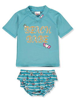 2-Piece Beach Babe Rash Guard Swim Set by Sweet & Soft in blue and fuchsia