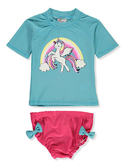 2-Piece Unicorn Rash Guard Swim Set by Sweet & Soft in blue and pink
