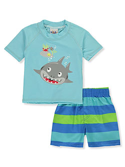 2-Piece Shark Rash Guard Swim Set by Sweet & Soft in blue/multi and royal blue