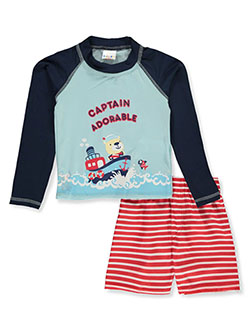 2-Piece Captain Rash Guard Swim Set by Sweet & Soft in light blue/multi and white/multi