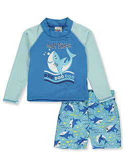 2-Piece Baby Shark Rash Guard Swim Set by Sweet & Soft in blue/multi and lime/multi