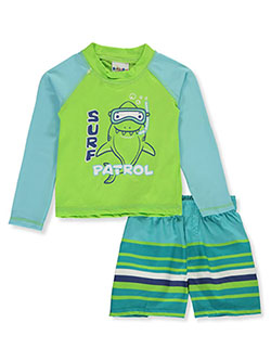 2-Piece Surf Shark Rash Guard Swim Set by Sweet & Soft in green/multi and light blue/multi