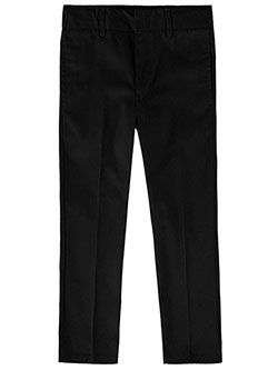 Boys' Flat Front Twill Pants by Smith's American in black, gray, khaki and navy
