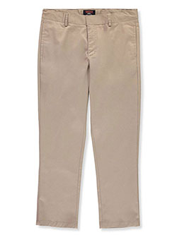 Husky Size Flat Front Twill Pants by Smith's American in Khaki