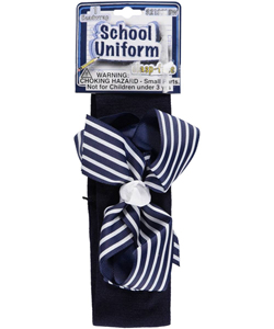 "School Uniform ""Striped Bow"" Headwrap - CookiesKids.com"