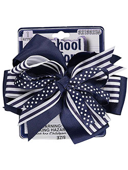 """Dots over Stripes"" Hair Clip by School Uniform in Navy"