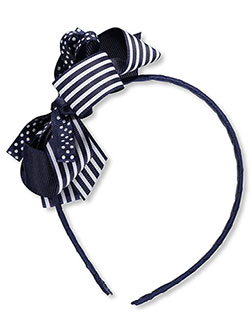 """Patterned Bow"" Headband by School Uniform in Navy"