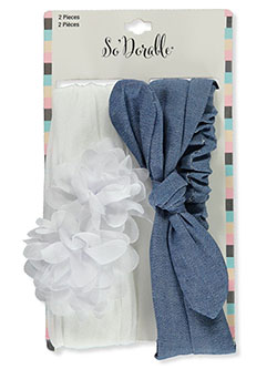 2-Pack Chiffon & Denim-Look Headbands by So'dorable in White