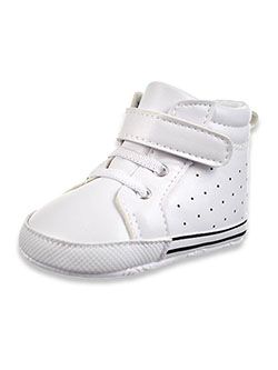 Perforated Hi-Top Sneaker Booties by Little Me in White